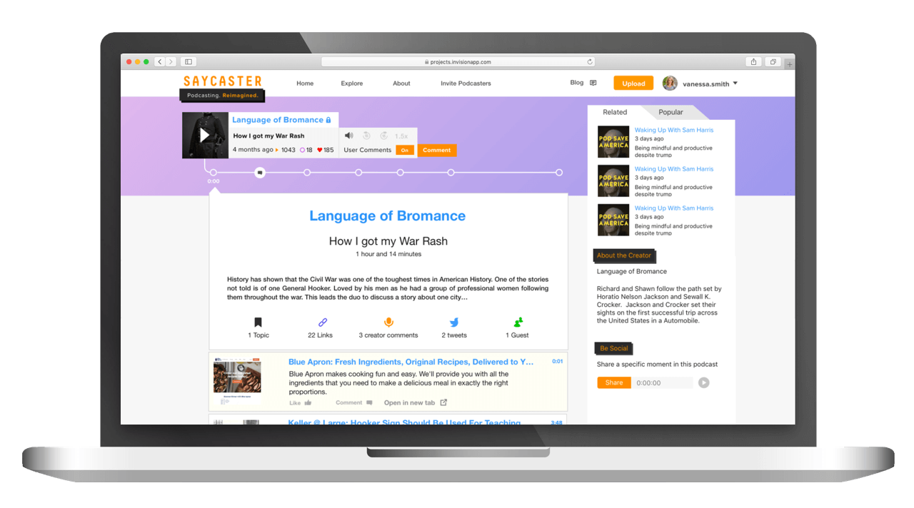full stack podcast platforma | portfolio položka