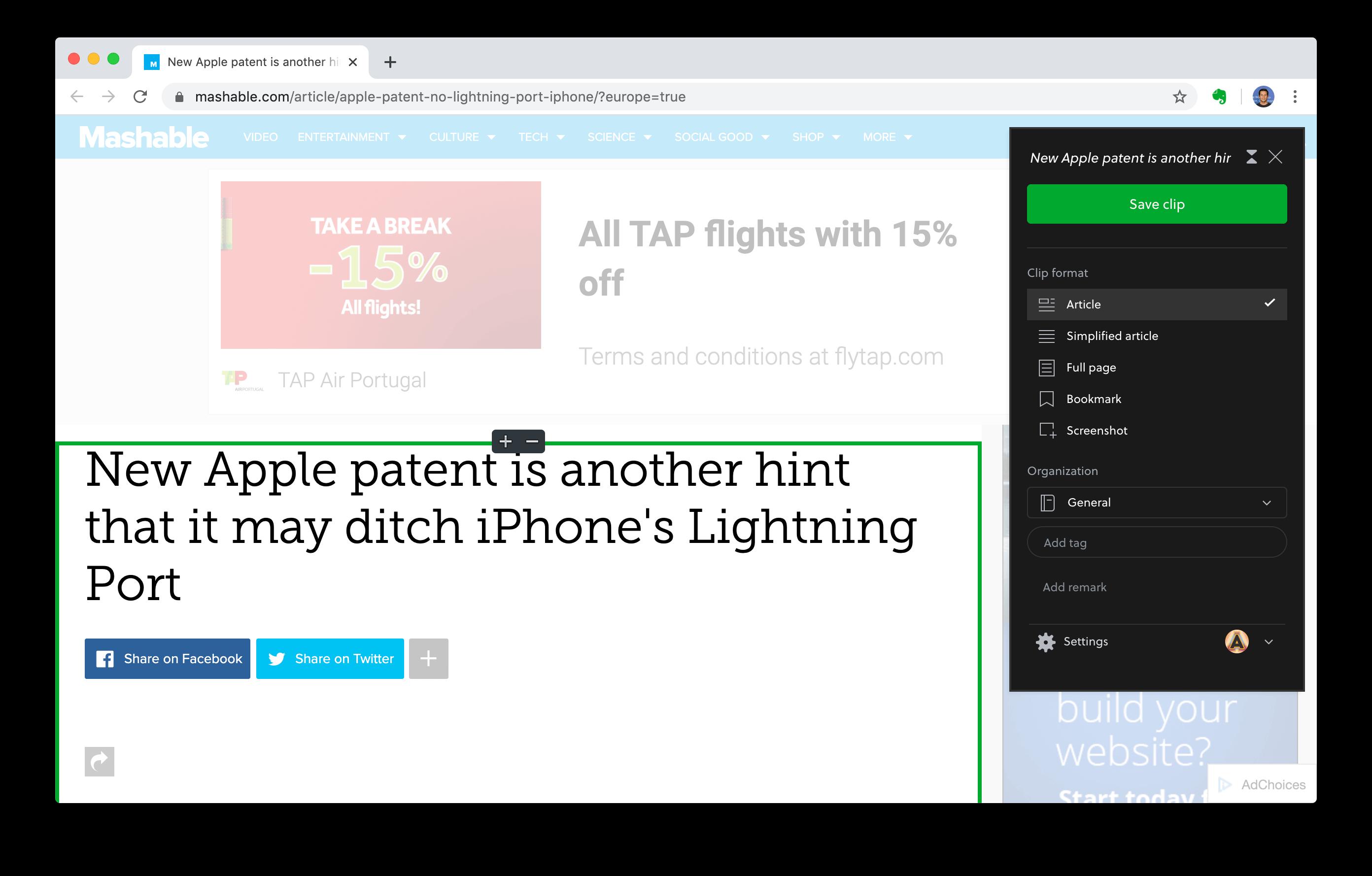 evernote web clipper chrome extension