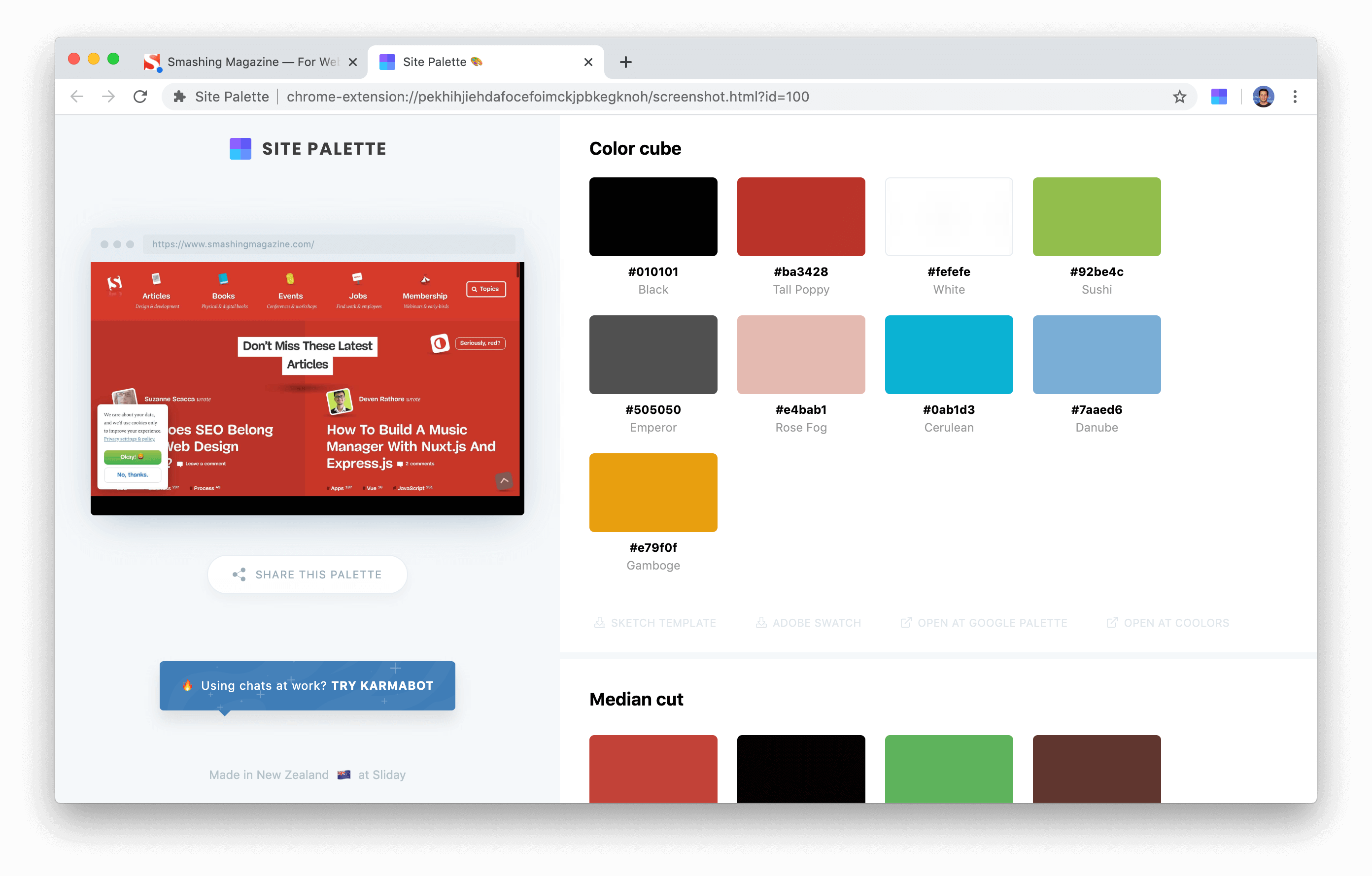 site palette chrome extension